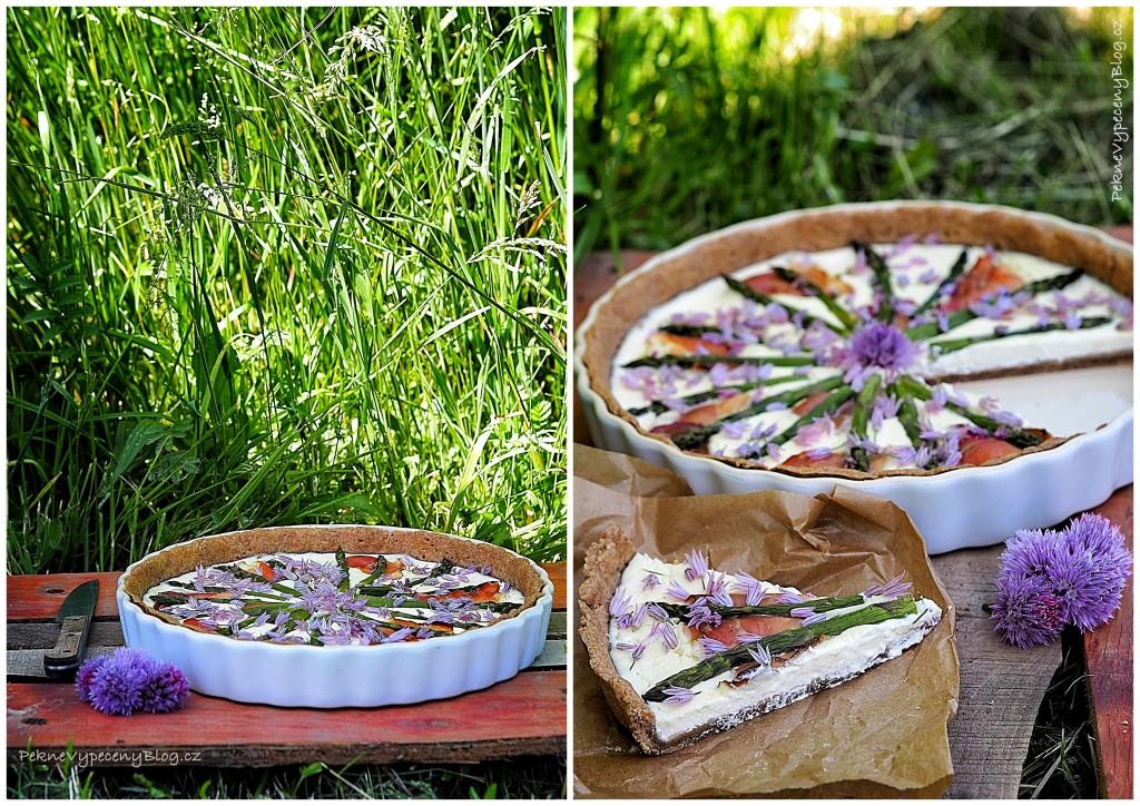 Špaldový koláč s ricottou a chřestem