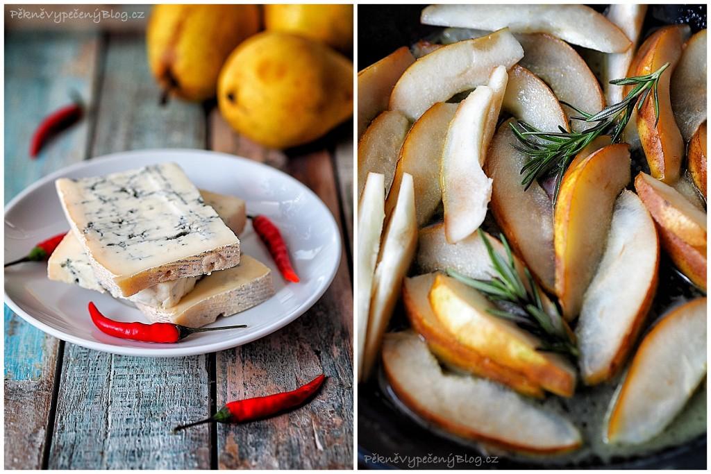 šátečky gorgonzola, hrušky