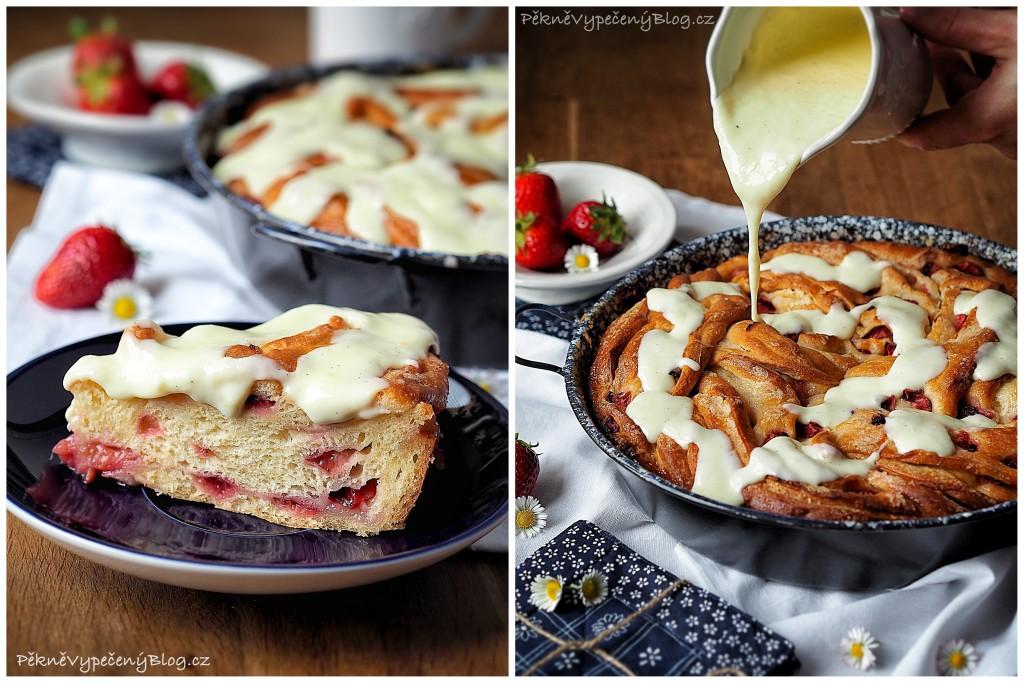 Točený jahodový koláč s pudinkem