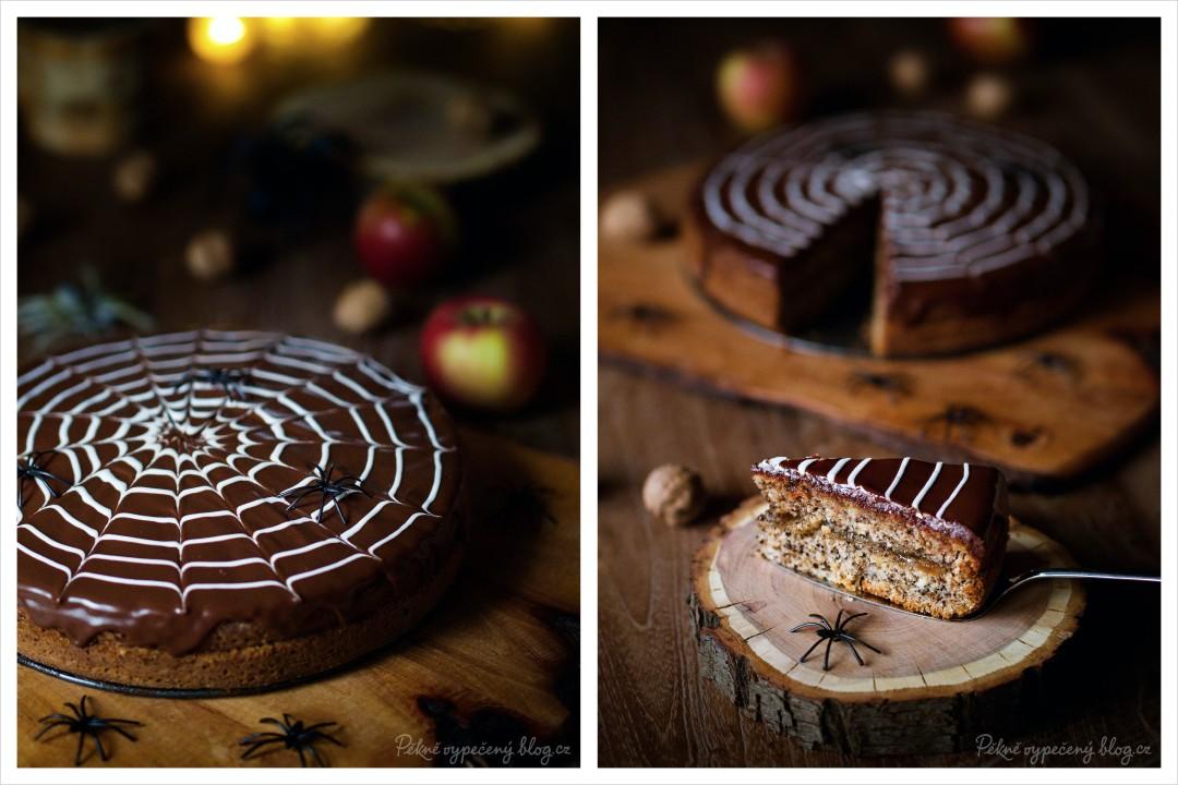 Ořechový dort s jablky